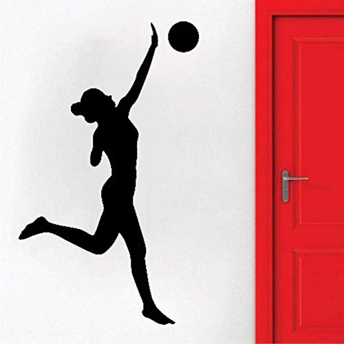 Rollos Pegatinas De Pared De Baño Voleibol Juego De Deportes De Pelota Chica Beats Paz Vinilo Calcomanía Papel Tapiz Baño Decoración Interior Del Hogar 42X62Cm