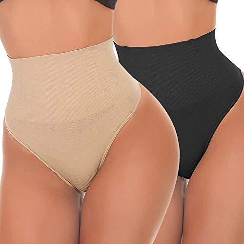AIMILIA Tummy Control Shapewear Butt Lifter Shaper Control Knickers Sexy Thong Body Shaper Hip Enhancer Panties for Womens (M (Fit Waist 26 -29 ), Beige+Black)