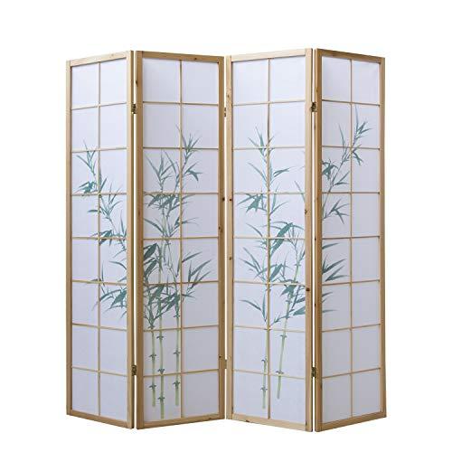 Homestyle4u 265, Paravent Raumteiler 5 teilig, Holz Natur, Reispapier Weiß, Bambus Motiv Grün