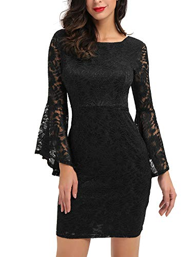 Noctflos Long Sleeve Lace Cocktail Dresses for Women Party Wedding