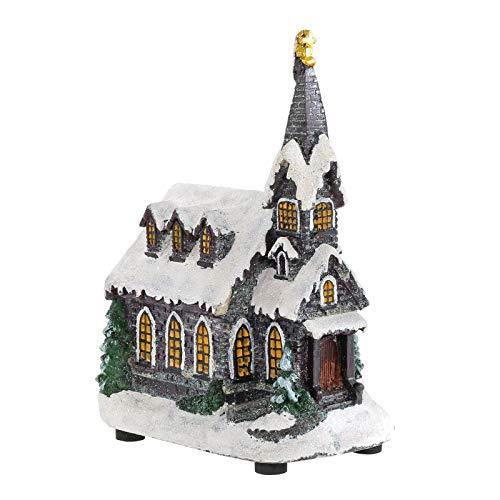 Mr Crimbo LED Christmas Room Decoration Light Up Church Warm White Windows Glitter Religious Traditional Christian Ornament Bell Tower Spire 22cm