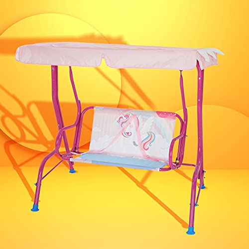 Bluu Kids Porch Swing Chair Patio Glider for Kids Outdoor Use with 2-seat, Safety Seat Belt & Infinite Tilt Canopy (Pink Unicorn)
