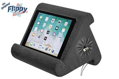 Flippy with New Storage Cubby Multi-Angle Soft Pillow Lap Stand for iPads, Tablets, eReaders, Smartphones, Books, Magazines (Smokey)
