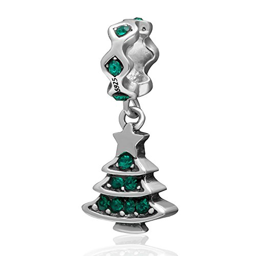Merry Christmas Tree,Reindeer, Bell,Snowman Charms 925 Sterling Silver Xmas Gifts Bead Fit Bracelet (Dangle Tree)