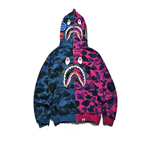 Swebape Bape Hoodie Shark Camo Bape Jacket Full Zip Up for Men Women Teenager(Camouflage-Large)