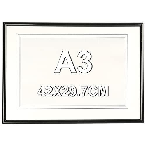 Marco de Fotos 29.7 x 42 cm A3 Negro Estilo Sencillo PVC Panel de Metacrilato Marco de Fotos para Decoración Especial para Títulos Universitarios
