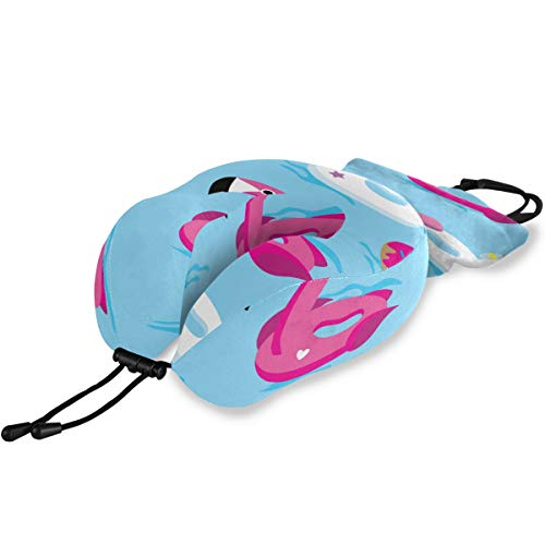 YSWPNA Printed Travel Pillow Bright Unicorn Or Flamingo Floats in Pool Memory Foam Neck & Head Support Print Comfortable Travel Pillow for Flight Travel Office Best Gift