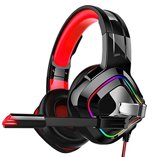 Big Shark Gaming Headset Stereo Gaming Headset Plus d'oreille Filaire Casque avec Microphone LED lumières Basse Surround Compatible for PS4 / Portables/Jeux (Color : Red)