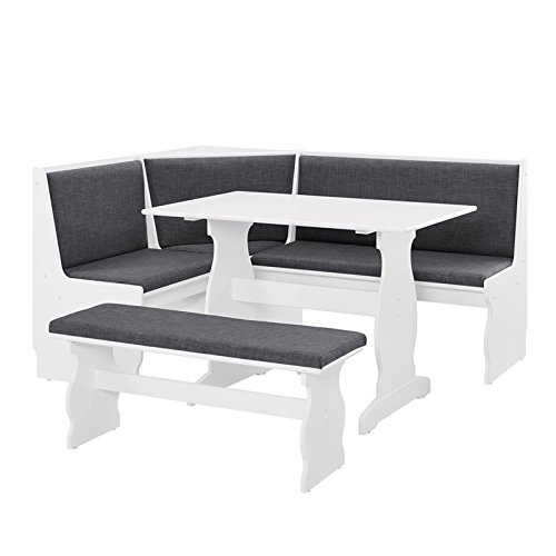 Riverbay Patio Conversation Kitchen Breakfast Corner Nook Table Booth Bench Dining Set in Charcoal
