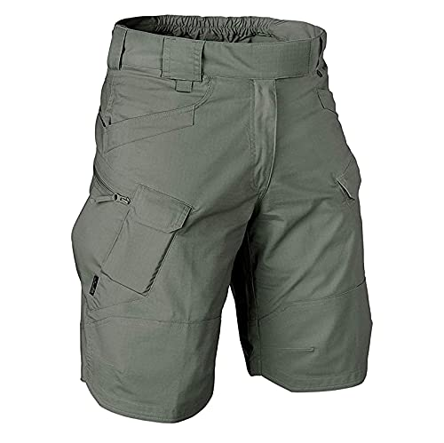 Bravetoshop Men's Relaxed Fit Cargo Shorts Elastic Waist Big Pockets Classic Casual Work Short Pants (Army Green,XXXL)