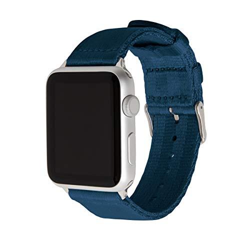 Archer Watch Straps | Cintura di Sicurezza Cinturino Ricambio di Nylon per Apple Watch | Cinturino per Uomo e Donna | Blu Navy/Acciaio Inossidabile, 42/44mm