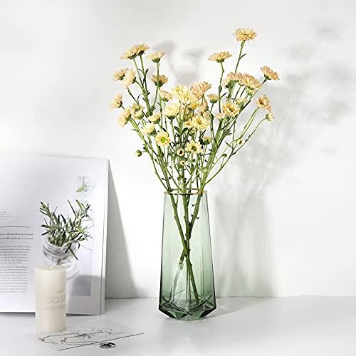 Luxspire Nordisch Stil Vase, mit Vertikale Linie Muster Blumenvase rutschfest Glasvase Dekovase Tischvase Blumenspender für Getrocknete Seidenblumen Hause Büro Esstisch Fest Schmück Geschenk - Grün