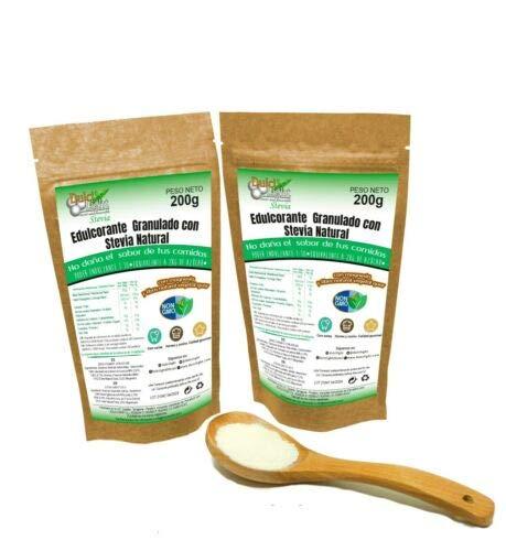 Dulcilight Stevia 200 Gramm, Packung 2 Einheiten, Gesamt = 400 Gramm - Süßkraft 1:10 entspricht 4 kg Zucker, Premium-Produkt - Bietet den natürlichen Geschmack von Stevia