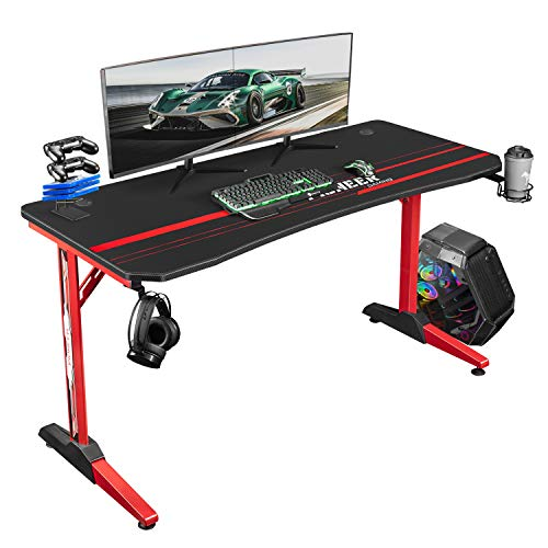 Tuoze Gaming Desk 55 Inch Racing Style T Shaped Computer Table for Home Office Gamer Workstation with Free Mouse Pad, Gaming Handle Rack, Cup Holder & Headphone Hook (55 Inch, Red)