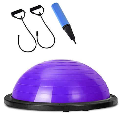 COSTWAY Balance Trainer Ball   Balancetrainer ø60cm   Gymnastikball mit Expander & Pumpe   Körperbalance bis 200kg (Lila)