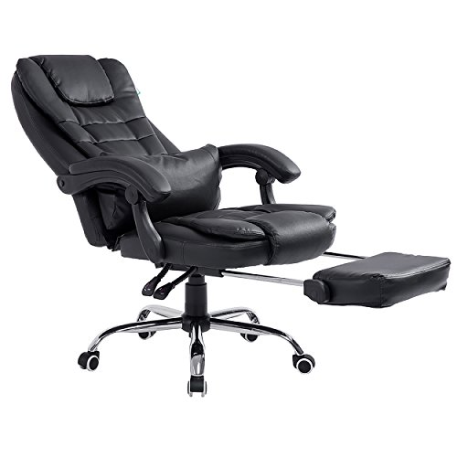 Cherry Tree Furniture Extra Padded High Back Reclining Black Faux Leather Relaxing Swivel Executive Chair With Footrest