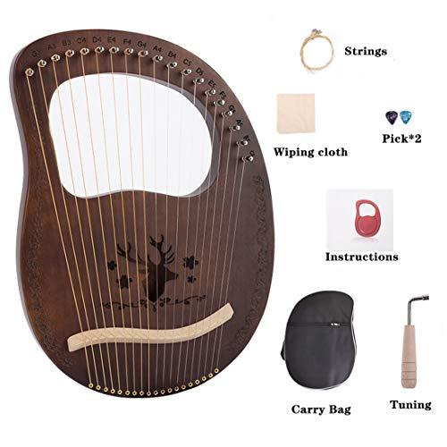LWKBE Lyre Harp 19 String Solidwood Mahagoni Lye Harfe mit Tragetasche, chinesische Harfe Heptachord für Anfänger Musikliebhaber Kinder Erwachsene Musikinstrument,B