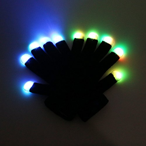 RexRod 7 colors light show LED Gloves Rave Light Finger Lighting Flashing Glow Mittens