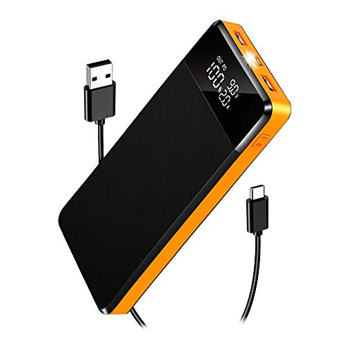 Power Bank, Portable Charger 26800mAh High Capacity Fast Charging USB C PD18W & QC3.0 with 5 USB Ports LED Display Flashlight External Battery Pack, for iPhone Samsung Xiaomi Huawei Smartphones