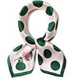 Pure Mulberry Silk Scarfs Women Small Square Scarf 21' x 21' Breathable Lightweight Neckerchief Printed Headscarf (B-60 Green dot)