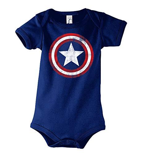 TRVPPY Baby Kurzarm Body Strampler Modell Vintage Captain America - Navyblau 3-6 Monate