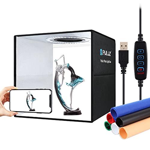 PULUZ Caja de luz de anillo ajustable plegable de 30 cm, para estudio de fotos, kit de caja de luz para fotografía con 6 colores y 112 luces LED para visualización del producto
