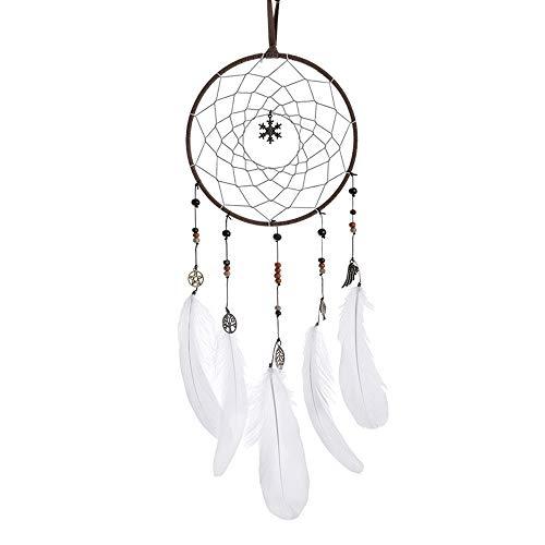 Dromenvanger handgemaakte dromenvanger met veren wandversiering ornament handwerk geschenk Home Decor ornament vakkundig geschenk voor hoofddecoraties kinderkamer 50 * 16cm wit