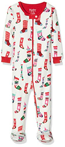 Hatley Baby-Mädchen Organic Cotton Footed Sleepsuit Schlafstrampler, Weiß (Holiday Stockings 100), 0-3...