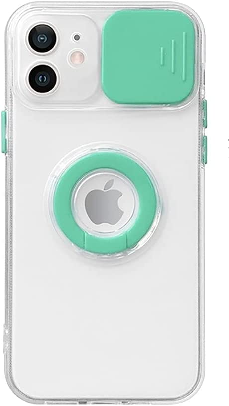 Caseative Candy Color Ring Holder Slide Lens Camera Cover Protection Clear Soft iPhone Case (Mint,iPhone 11 Pro Max)