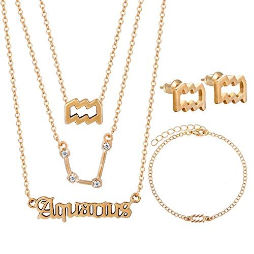 Qerrassa Collare Conjunto Para Mujere Oro zodiaco 6 Piezas Géminis Cáncer Leo Virgo Libra Escorpio Sagitario Capricornio Acuario Piscis Tauro Aries Collares Colgante Acero Inoxidable Colgantes