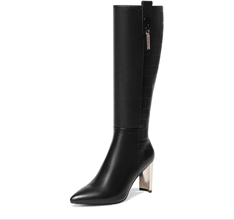 Mina damer, stövlar Long Long Long Tube mode stövlar Knight stövlar Med spetsig high Heel läder 37 -46  förstklassig kvalitet