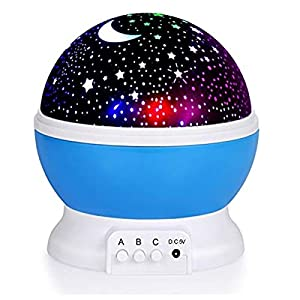 Xiangtat New Generation Baby Night Lights for Kids, Starry Night Light Rotating Moon Stars Projector, 9 Color Options Romantic Night Lighting Lamp, USB Cable / Batteries Powered for Nursery, Be