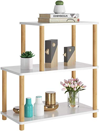 HOMECHO Beistelltisch mit 3 Ablagen Sofatisch Couchtisch Nachttisch Kaffeetisch weiß höhenverstellbar stabil 4 Füße aus Bambus Holz für Wohnzimmer Büro Schlafzimmer Flur Büro