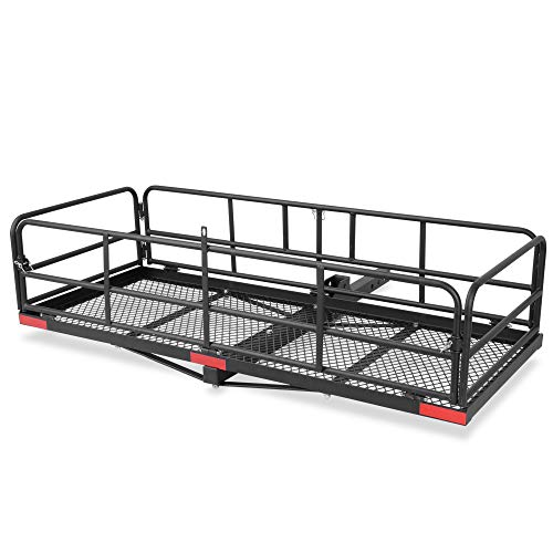 "ARKSEN Foldable 60""x 24""x 14"" Luggage Basket Trailer Hitch Cargo Carrier Fit 2"" Receiver,500 lbs Capacity"