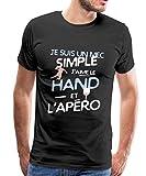 J'aime Le Hand Et L'Apéro T-Shirt Premium Homme, M, Noir