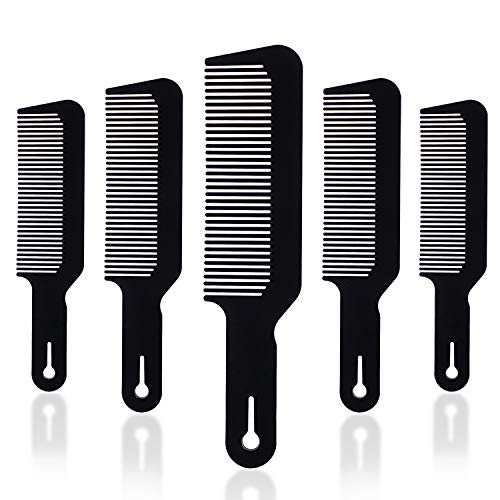 5Pcs Barber Combs Flat Top Clipper Comb Hair Cutting Comb Fade Comb Great for Clipper-cuts and Flattops(Black)