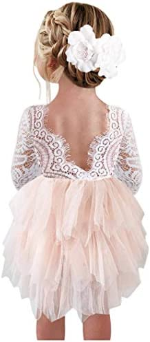 2Bunnies Girl Peony Lace Back A Line Tiered Tutu Tulle Flower Girl Dress Pink 3 4 Sleeve Short product image