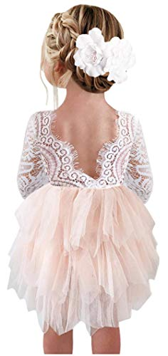 2Bunnies Girl Peony Lace Back A-Line Tiered Tutu Tulle Flower Girl Dress (Pink 3/4 Sleeve Short, 12 Months)