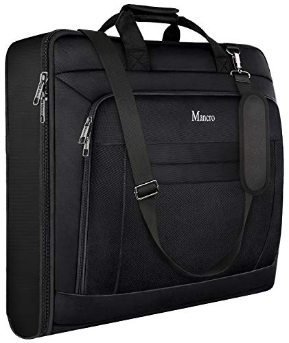 Garment Bags for Travel, Carry On Garment Bag for Business Trips with Shoulder Strap, Mancro Waterproof Foldable Luggage Hanging Suit Bags Gift for Men Women, 2 in 1 Suitcase for Coats, Suits (Black)