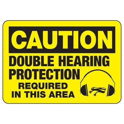 Vivityobert Doppel-Gehörschutz Warnschilder Metall Gefahrenhinweis Hinweisschild Gefahrenschild für Eigentum Hausdeko Hofschild 20,3 x 30,5 cm