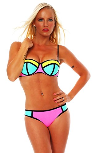 10600 Fashion4Young Sexy Damen Triangle Bikini Sets Badeanzug Triangle Bademode Push Up, Tuerkis Rosa, L40 Cup B/C