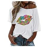 Liably Camiseta de manga corta para mujer con estampado de labios, cuello redondo, sexy, estilo club, color natural, antibolitas. Blanco XL