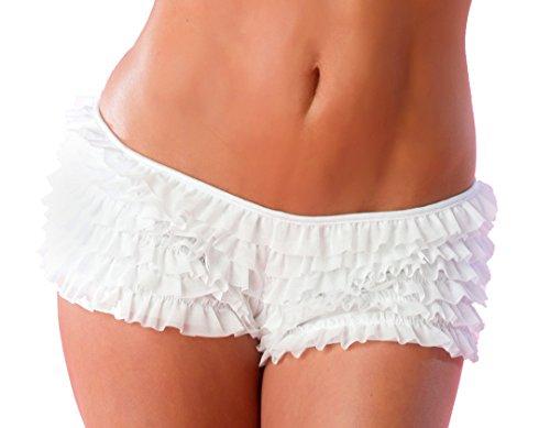 Velvet Kitten Sexy Boy Short Panties for Women with Ruffles and Bow (Small/Medium, White)