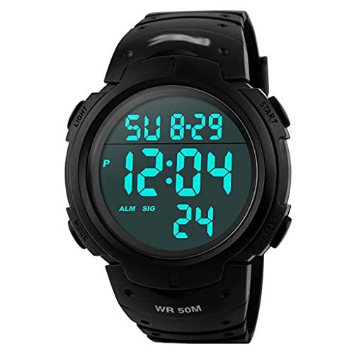 Reloj Digital para Hombre-Relojes Deportivo a Prueba De Agua para Hombre 50m,Reloj Militar Negro De Gran Cara Led con Alarma/Temporizador De Cuenta...