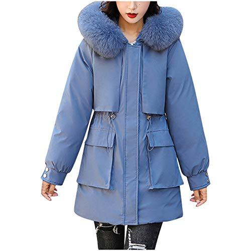 Yowablo Steppmantel daunenmantel Mantel Damen Winter Mantel Mantel Outwear Frauen Winterjacke Warm Slim Pelzkragen Reißverschluss Dicker (XL,Blau)