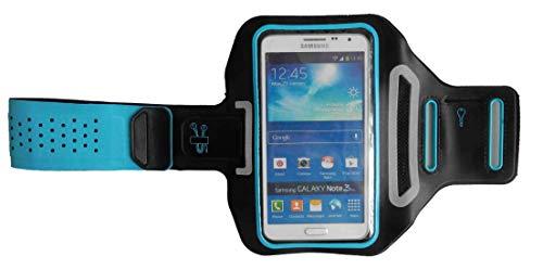 Sport-Armband Oberarm Tasche passend für Motorola Moto G7 Plus / G7 Play / G7 / G6 Play / G6 Handy Halterung Fitness-Hülle, Tasche mit großem Fach Jogging, Dealbude24 Trendy Groß Blau