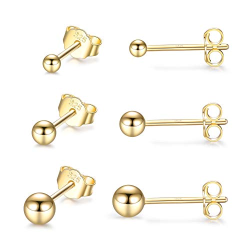 LYTOPTOP Sterling Silver Stud Earrings for Women Girls Men- 3 Pairs Tiny Gold Ball Stud Earrings Set Cartilage Small Tragus Earrings Nose Lip Rings(2mm,3mm,4mm)