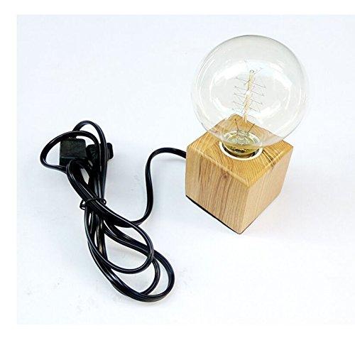 Portalámparas E27 de madera cuadrada, lámpara de mesa, enc