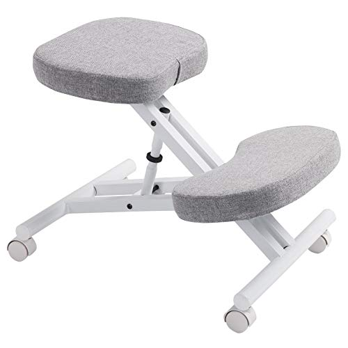 IDIMEX Kniestuhl Kniehocker Sitzhocker Bürohocker Gesundheitsstuhl Robert in weiß/grau, höhenverstellbar, bequem gepolstert, rollbar