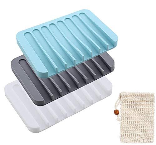 Yomiin 3 Stück Silikon Seifenschale mit Ablauf mit 1 Stück Seifensäckchen, Kreative Selbstleerend Silikon Dusche Seifenhalter Seifenablage Seifenkiste für Dusche/Badezimmer/Küche
